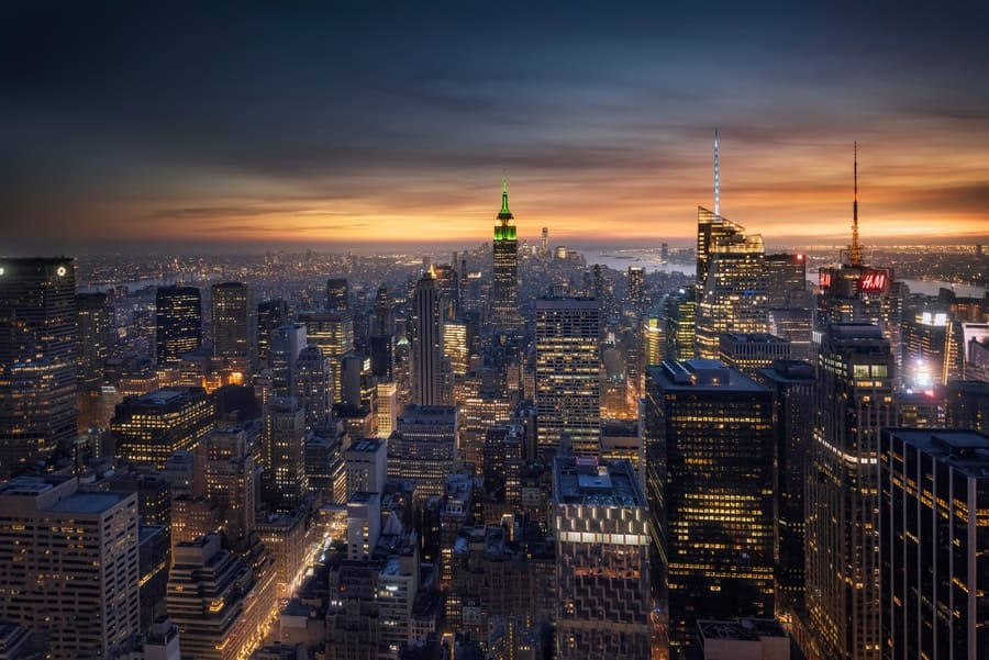 New York, the city that never sleeps with its thousands of night lights.