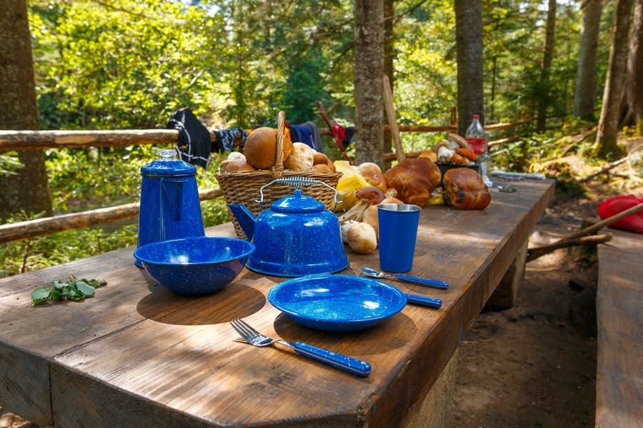 Blue set of tableware for camping is on the table next to a basket of mushrooms