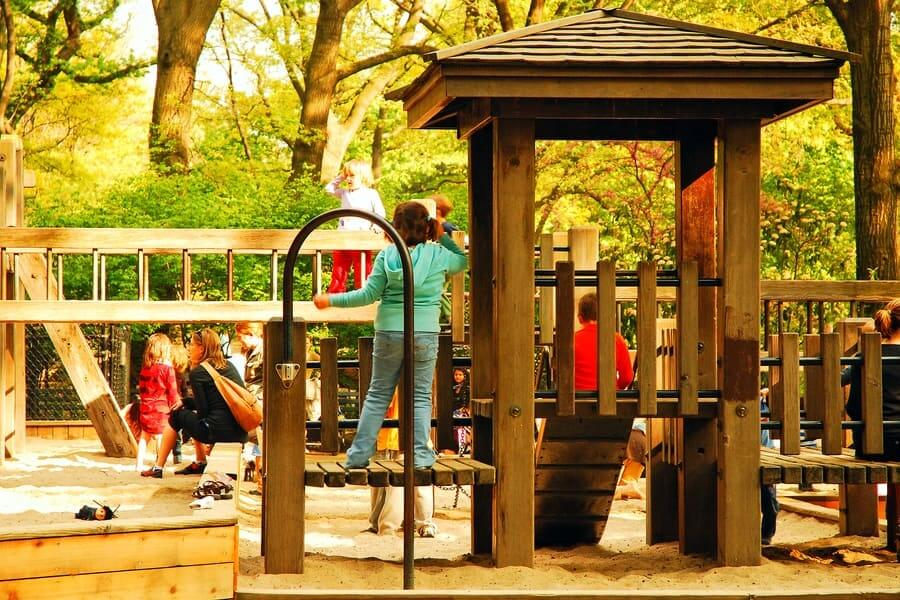 Children play on the Diana Ross playground in New York's Central Park