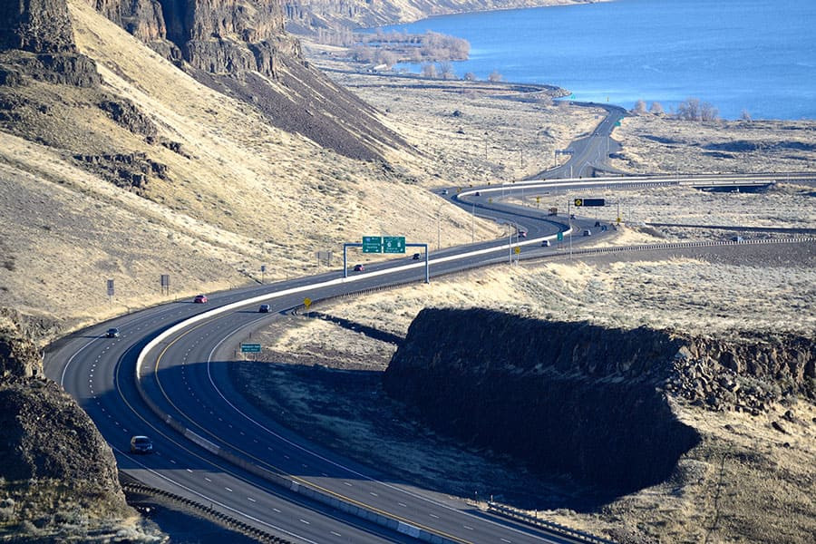 Interstate 90 Crossing the Columbia River in Washington State-USA