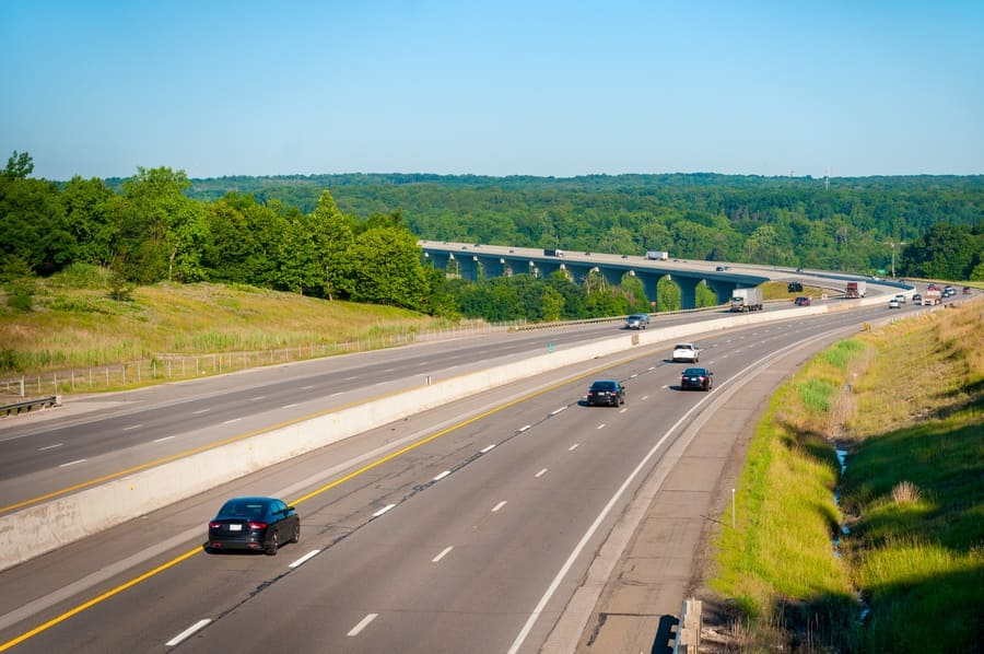The Ohio Turnpike (Interstate 80) crosses the Cuyahoga Valley south of Cleveland