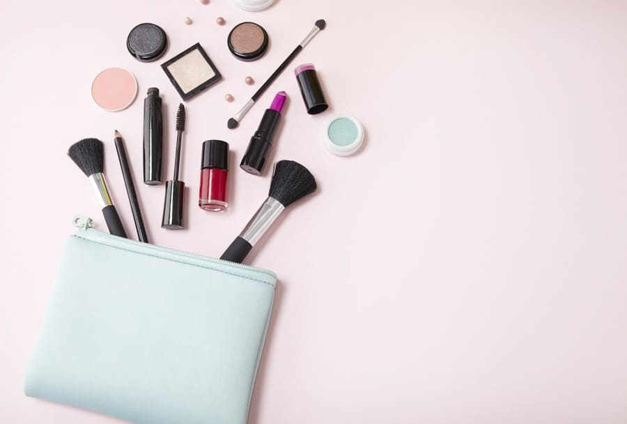 cosmetics bag with makeup products