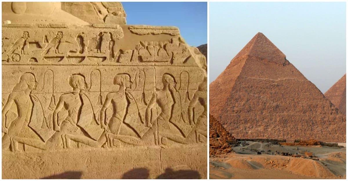 Egyptian hieroglyphs and Pyramid