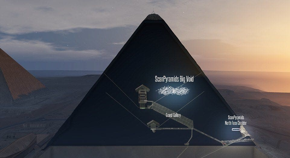 hidden chamber in the great pyramid (illustration)