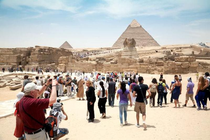 tourist in the Great Pyramid of Giza
