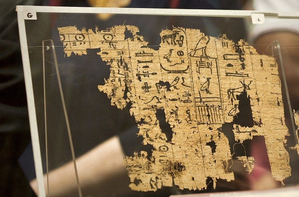 an ancient roll of papyrus