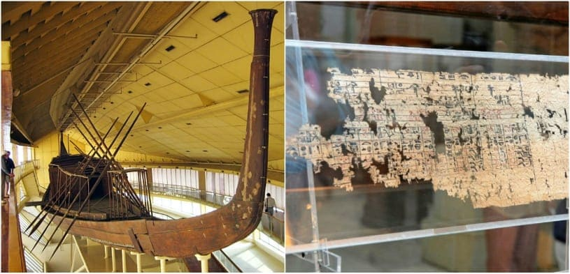Khufu ship and an ancient roll of papyrus