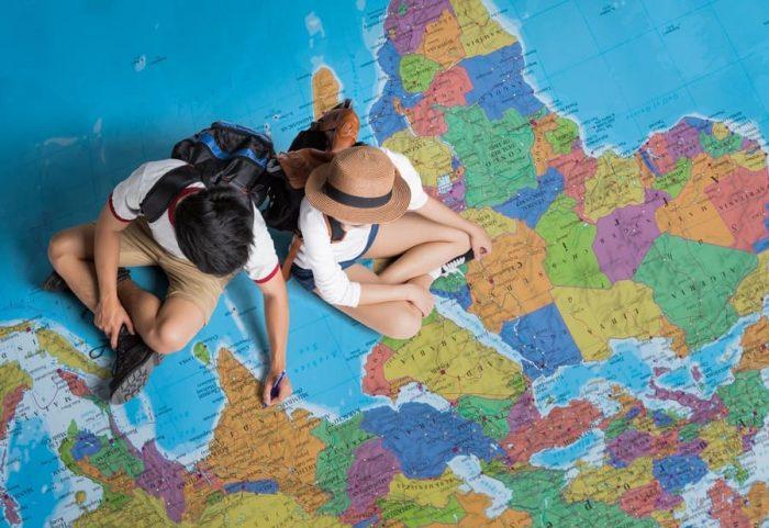 The tourist Planning a tour around the world