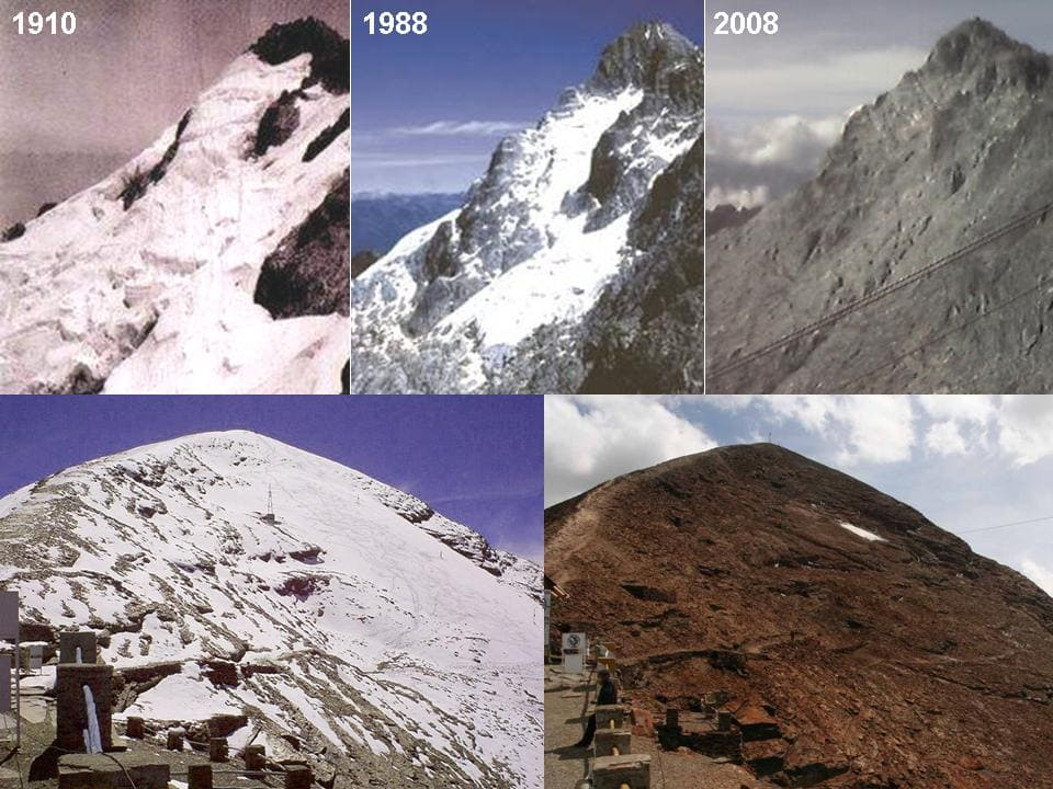 Photo display showing how the glaciers have melted away