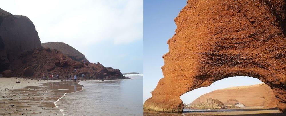A circular rock formation on the shore break