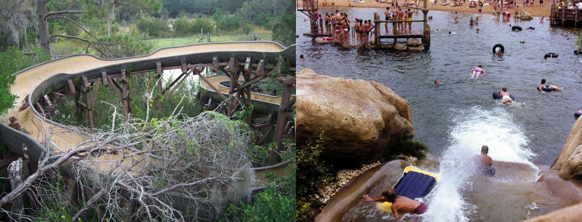 Before and after of the waterpark