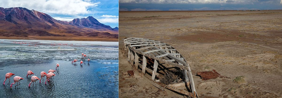 A lake containing water before drought compared to the picture of it dried up