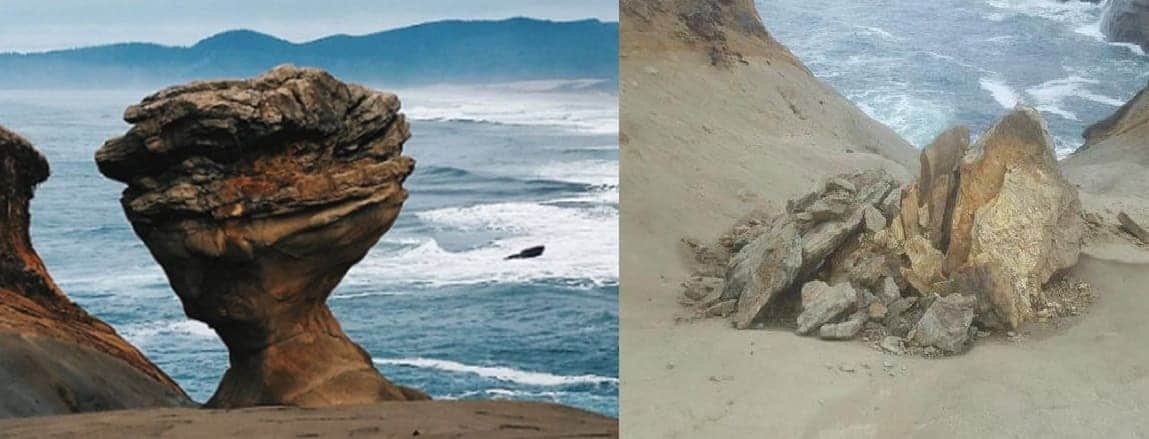 A picture of a natural rock formation, before and after it was destroyed