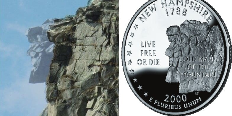 Picture of the rock before and after next to a picture of a state quarter