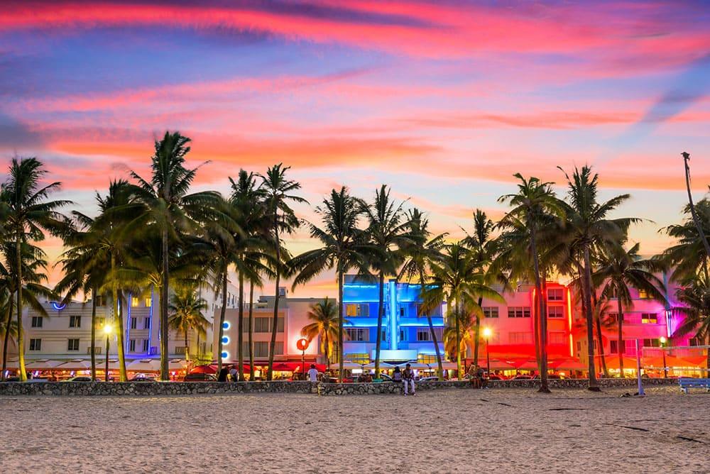 Miami Beach, Florida, USA on Ocean Drive at sunset