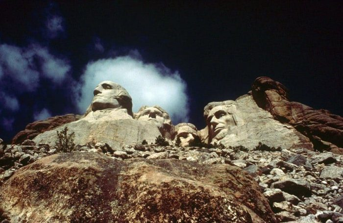 Faces of Former American Presidents Carved in Mount Rushmore, South Dakota, America - Presidents George Washington, Thomas Jefferson, Theodore Roosevelt, Abraham Lincoln