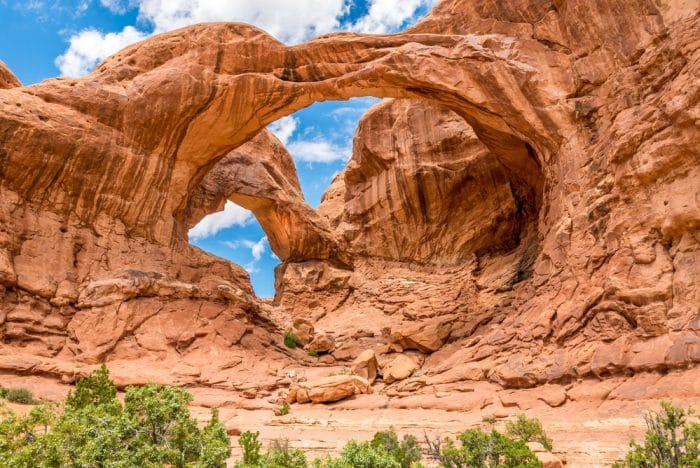 View at the Double Arch in Arches National Park