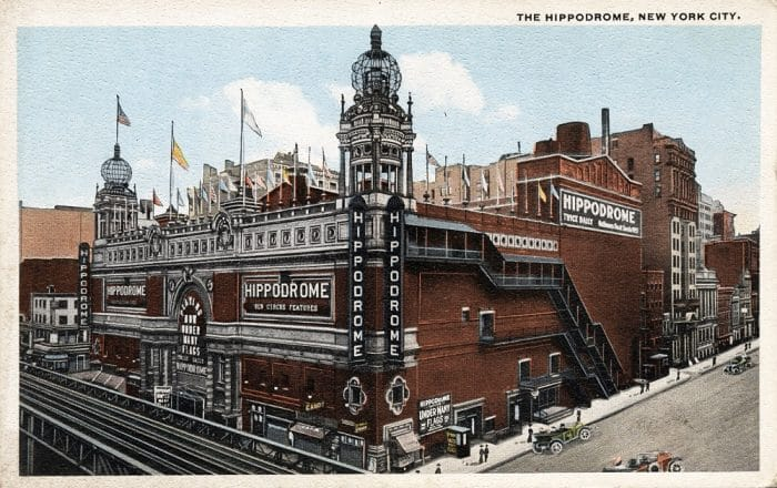 Vintage postcard depicting The Hippodrome, built in 1905 & demolished in 1939 after its decline & fall, New York City, USA, circa 1912