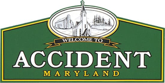 Accident Maryland town sign