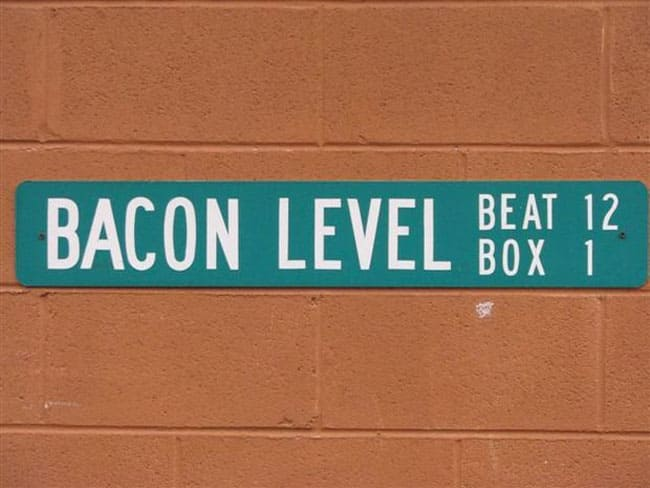 Bacon Level Alabama town sign