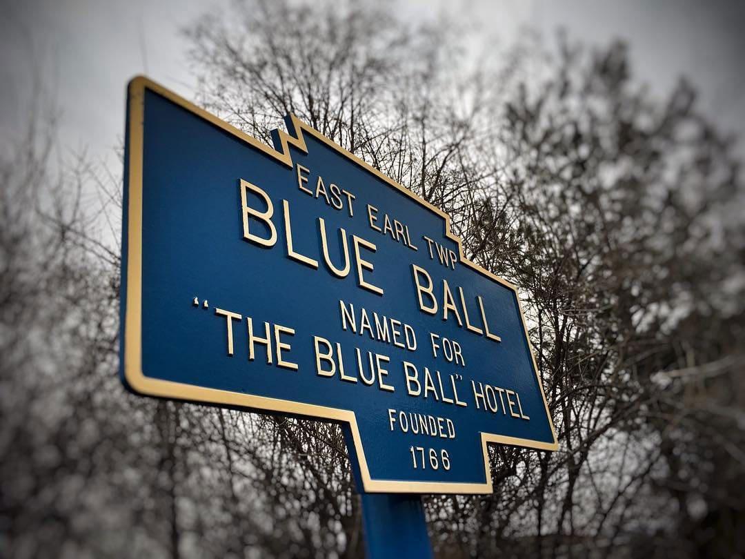 Blue Ball Barn town sign