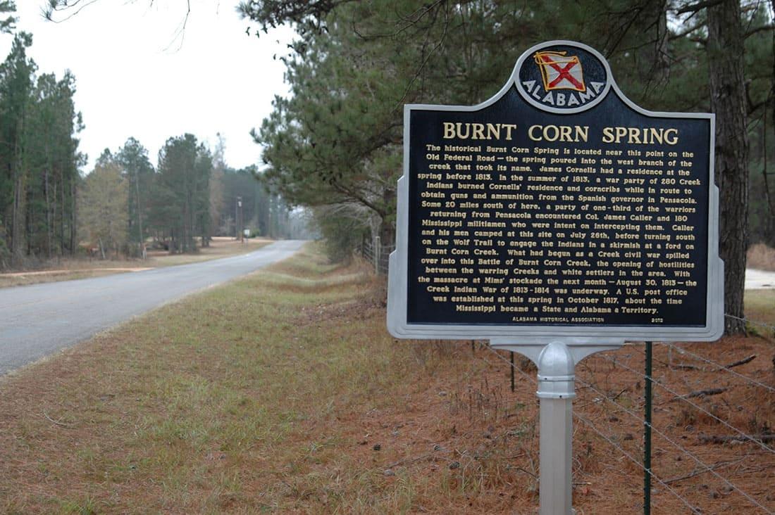 Burnt Corn, Alabama town sign