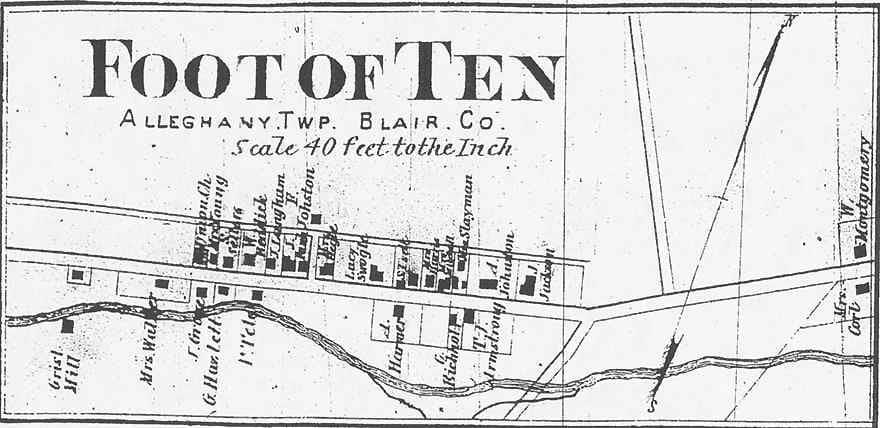 Foot of Ten, Pennsylvania city map