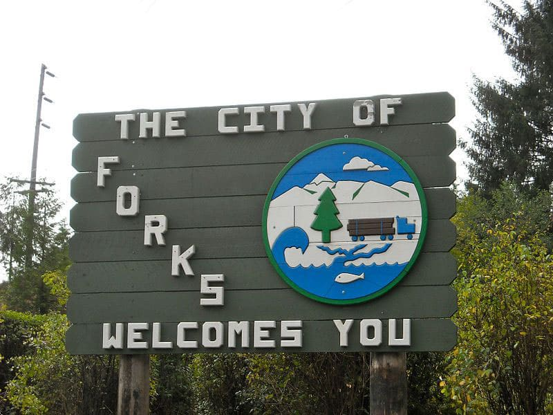 Forks of Salmon, California town sign