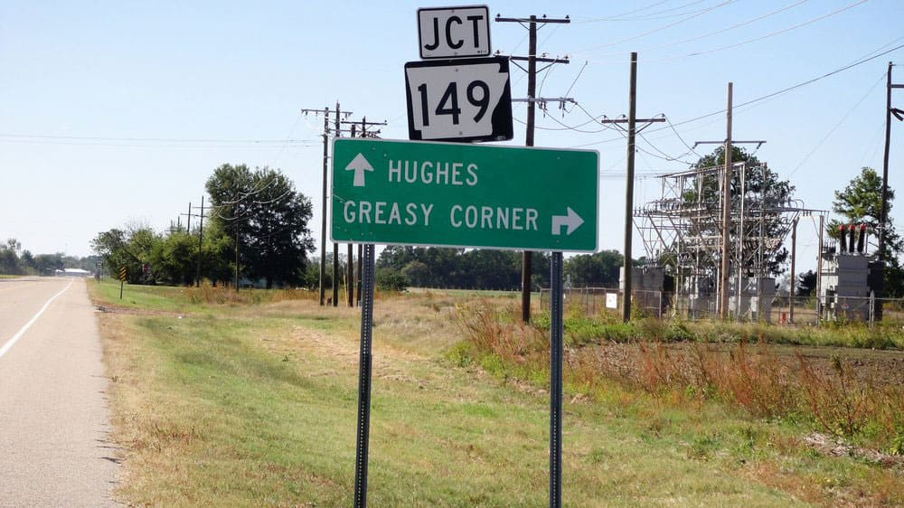 Greasy Corner, Arkansas town sign