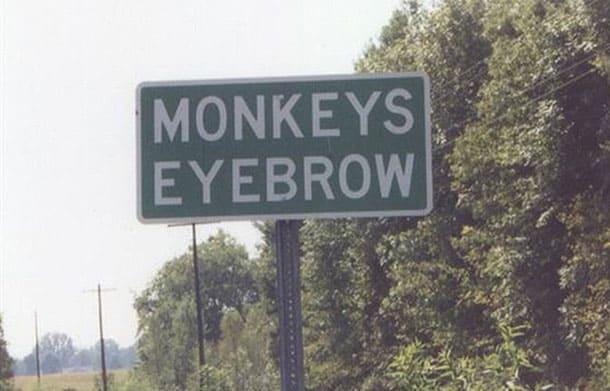 Monkey Eyebrow, Kentucky town sign