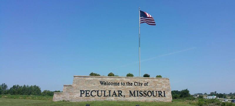 Peculiar, Missouri town sign