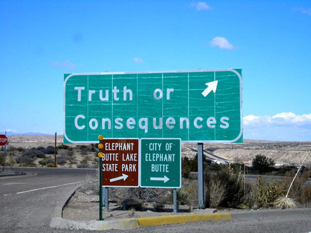 Truth or Consequences, New Mexico town sign