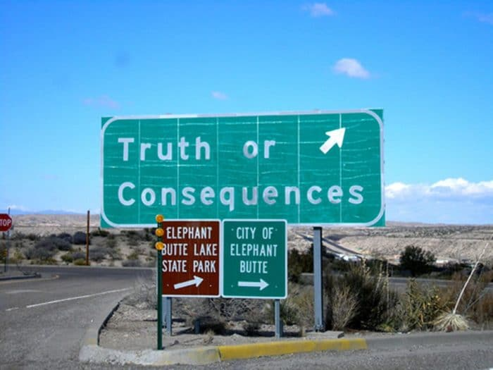 Truth or Consequences sign