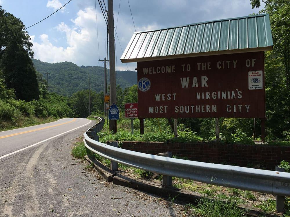 War, West Virginia road sign