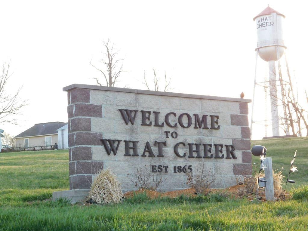What Cheer, Iowa sign
