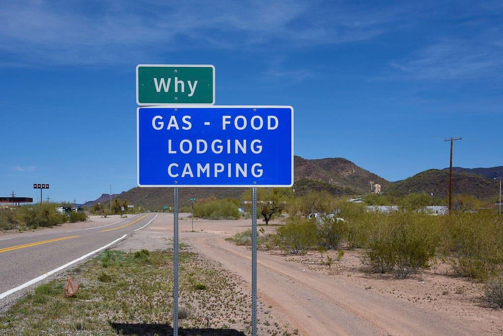 Why, Arizona sign