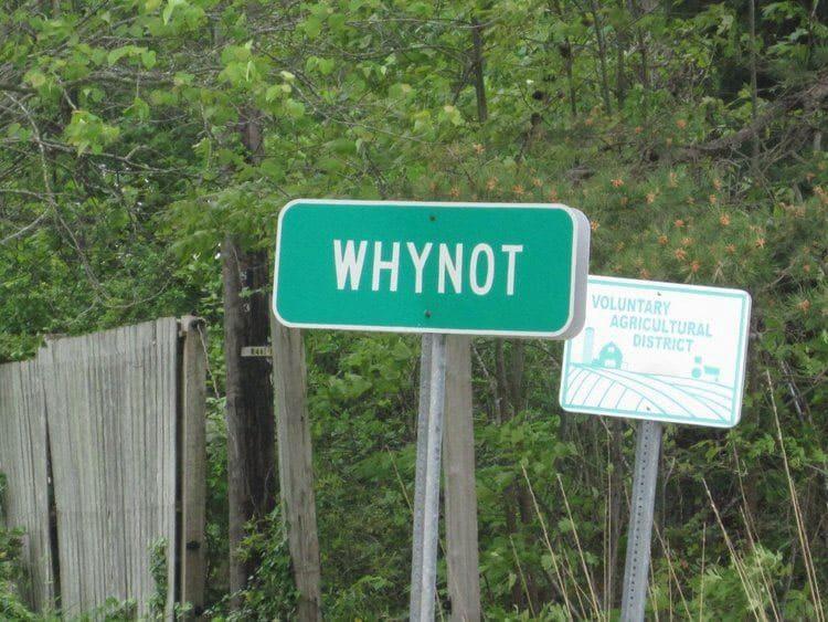 Whynot, North Carolina sign