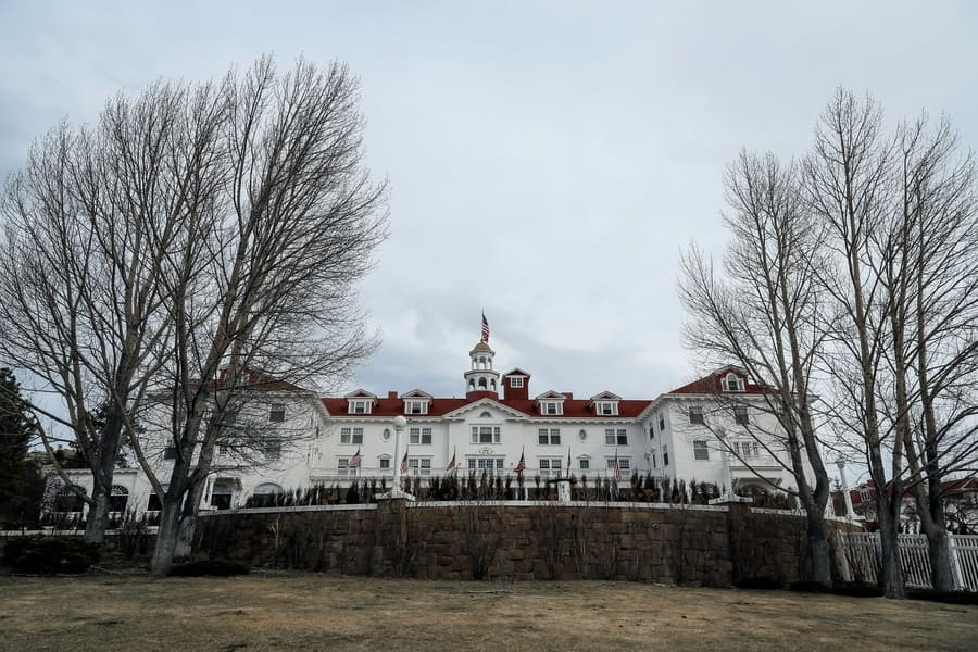 A close up front winter view of the famous Stanley Hotel at Estes Park, Colorado, USA.