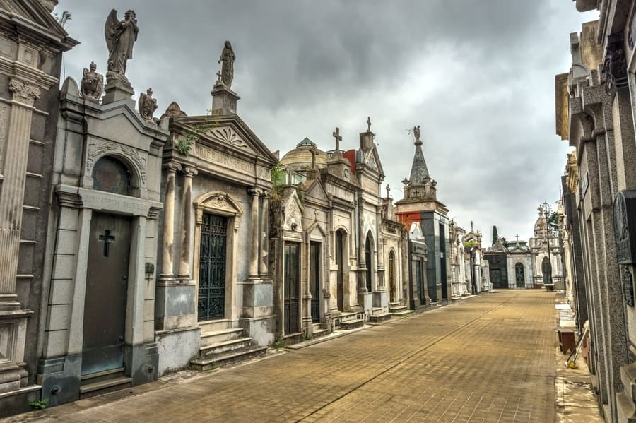 La Recoleta Cemetery. Located in the Recoleta neighborhood of Buenos Aires, Argentina
