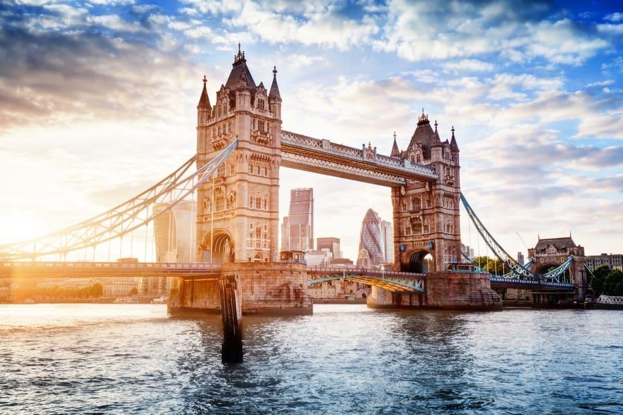 Tower Bridge in London, the UK. Sunset with beautiful clouds. Drawbridge opening. One of the English symbols