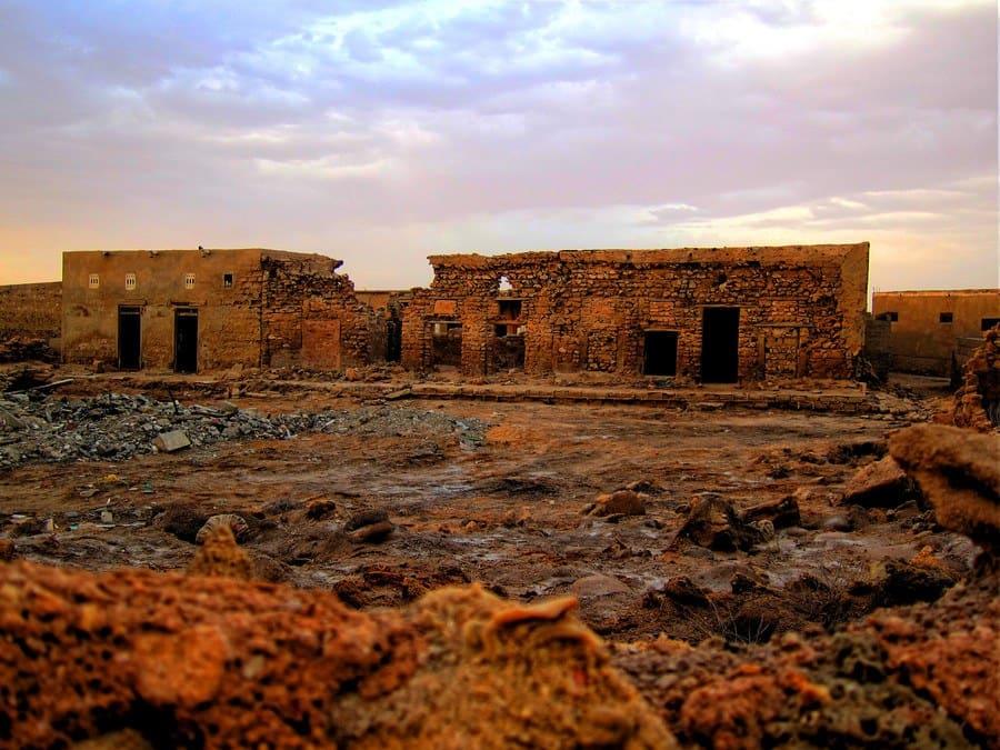 Abandoned buildings in Jazirat Al Hamra, Ras al Khaimah.