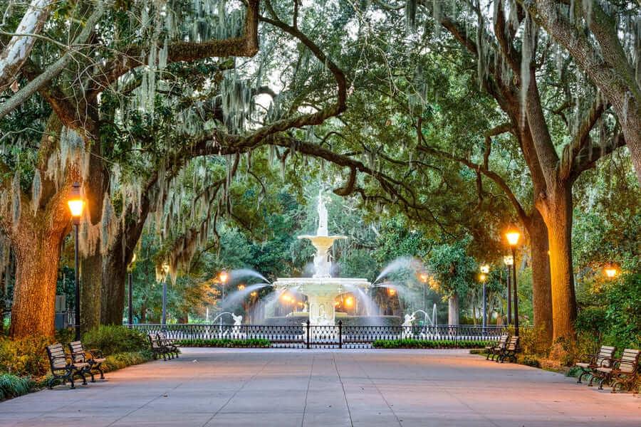 Savannah, Georgia, the USA at Forsyth Park Fountain
