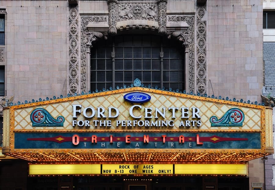 Oriental Theatre and street on October 6, 2011, in Chicago, Illinois.