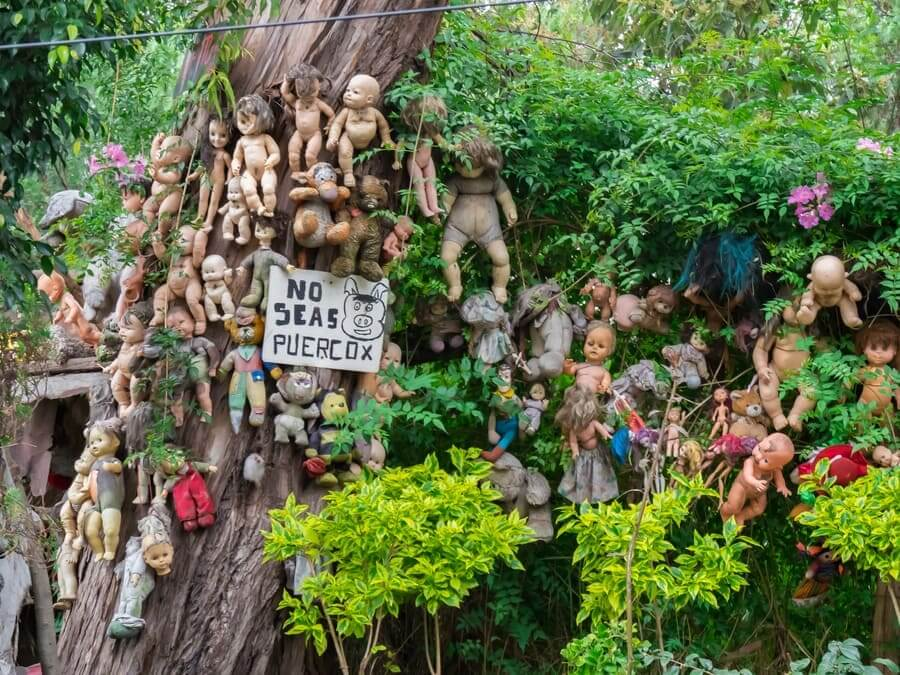 The Island of the Dolls in the channels of Xochimilco in Mexico