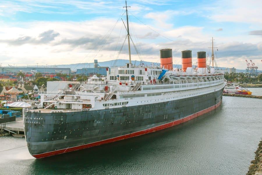 Long Beach, California. The historic Queen Mary moored in Long Beach.