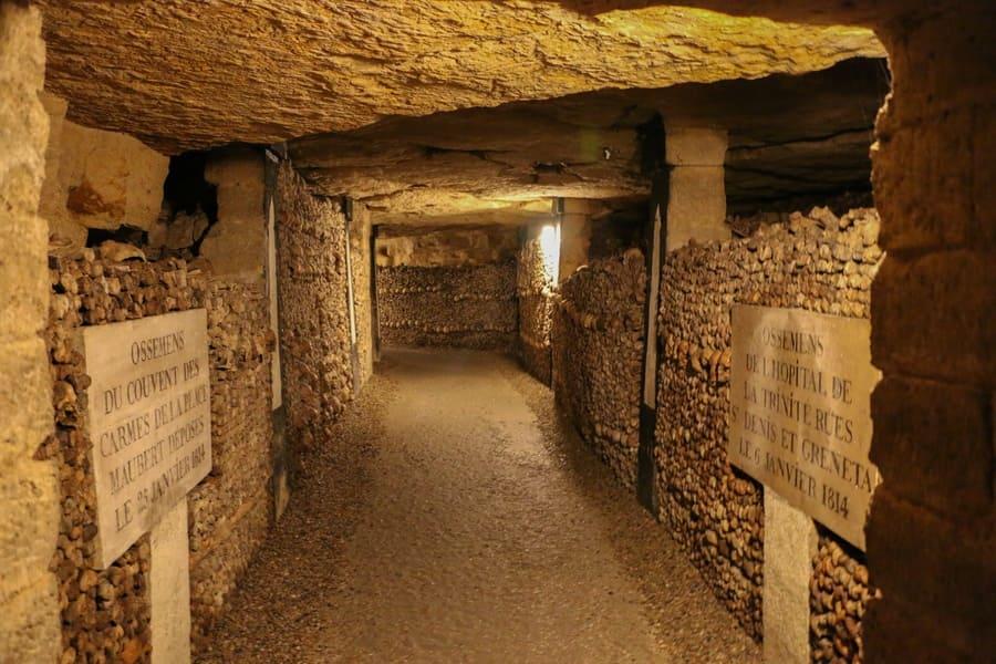 Paris, France - July 12, 2013: The bones inside the Catacombs in Paris