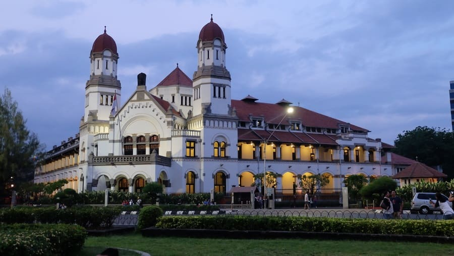 Colonial building at sunset time in Semarang city, Central Java, Indonesia