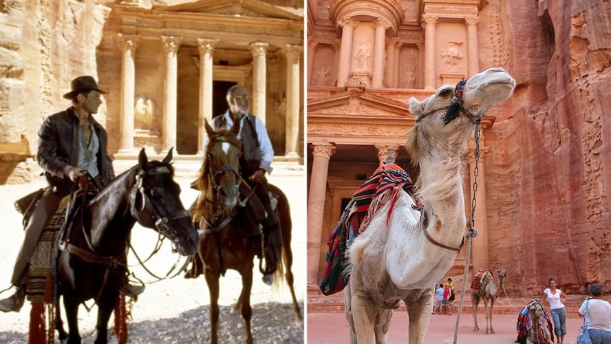 Harrison Ford and Sean Connery in 'Indiana Jones and the Last Crusade.' / A camel is standing near Al Khazneh in Petra, Jordan.