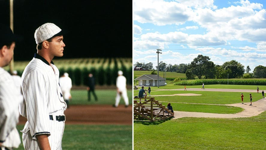 Ray Liotta in 'Field of Dreams.' / Parents and children play baseball, on the set of 'Field of Dreams.'