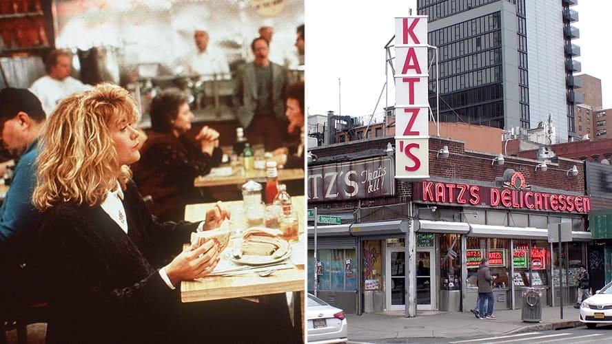 Meg Ryan in 'When Harry Met Sally.' / Exterior shot of Katz's Deli restaurant.
